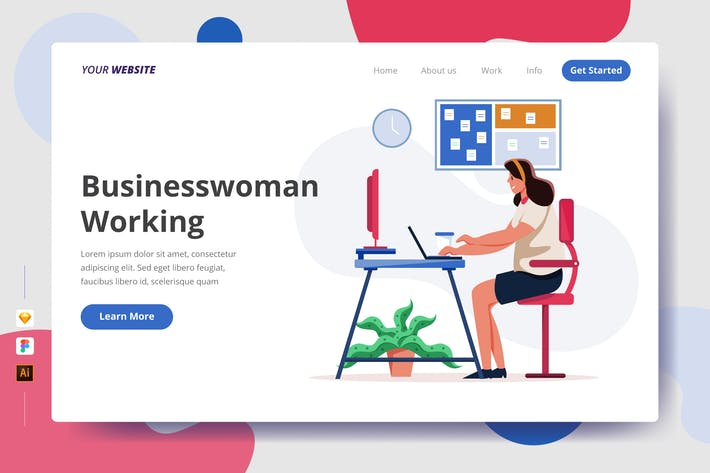Thumbnail for Businesswoman Working - Landing Page