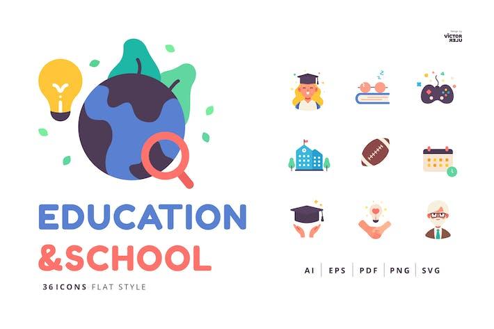 36 Icons Bildung und Schule Flat Style