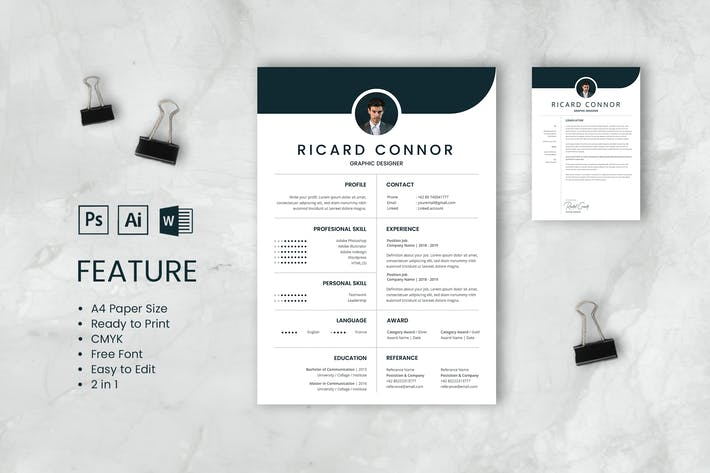 Thumbnail for Professional CV And Resume Template Richard