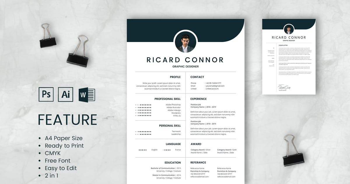 Download Professional CV And Resume Template Richard by WPBootstrap
