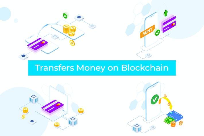 Thumbnail for Transfers Money on Blockchain Isometric 1 - FV