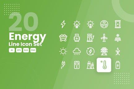 20 Energielinie Icon Set