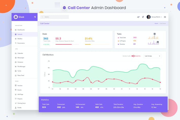 Thumbnail for Call Center Admin Dashboard UI Kit
