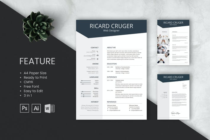 Cover Image For Professional CV And Resume Template Richard