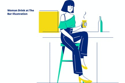 Woman Drink at The Bar Illustration