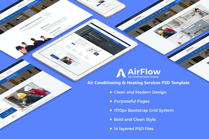Thumbnail for Airflow - Air Conditioning & Heating PSD Template