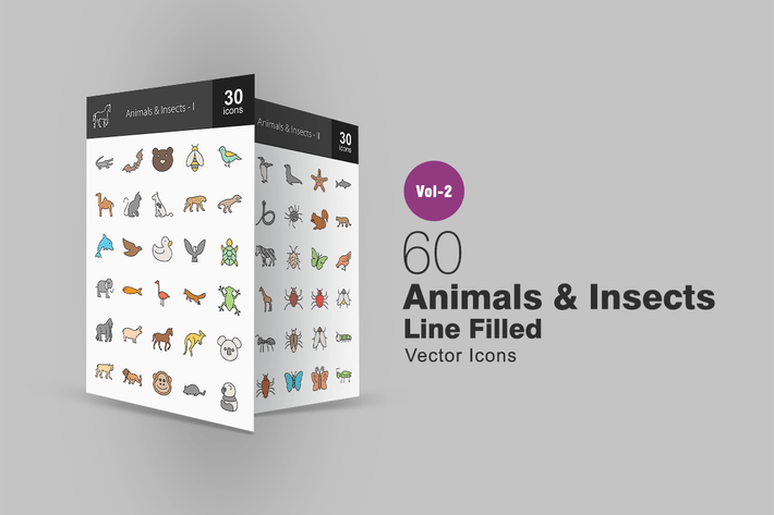 Thumbnail for 60 Animals & Insects Line Filled Icons