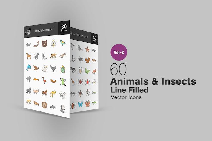 Thumbnail for 60 Icones animales et insectes lignée remplis