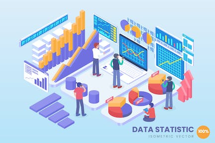 Isometric Data Statistic Technology Vector Concept