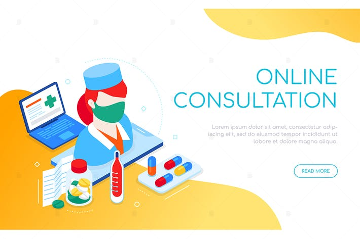 Thumbnail for Online consultation - colorful isometric banner