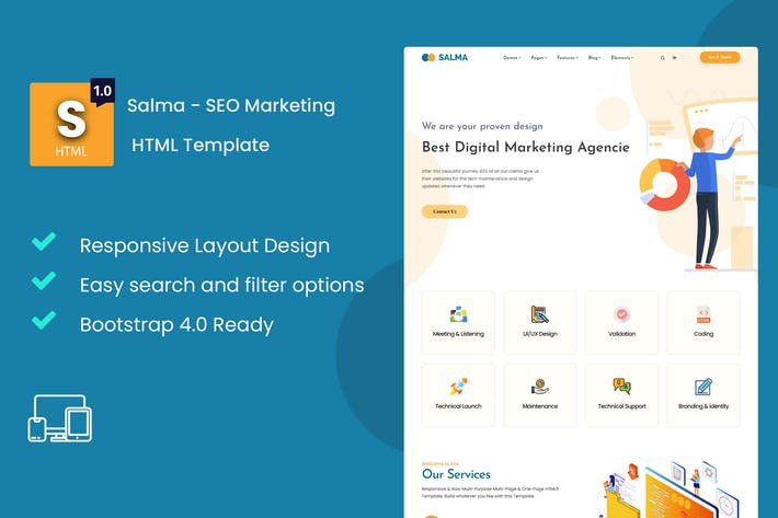 Thumbnail for Salma - SEO Marketing HTML Template