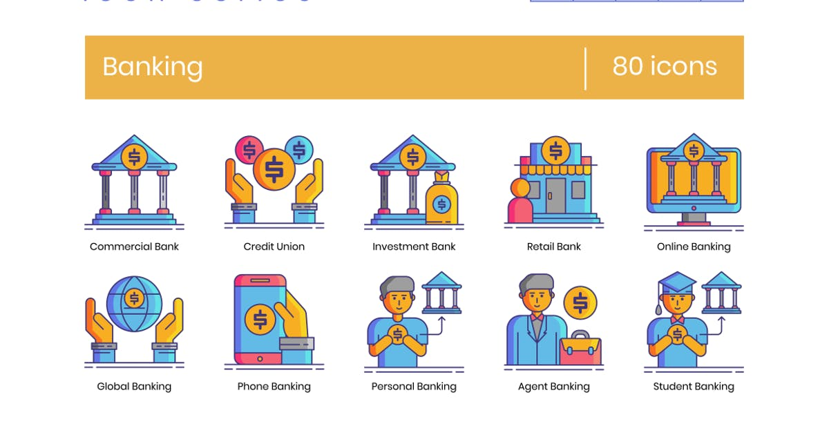 Download 80 Banking Line Icons by Krafted