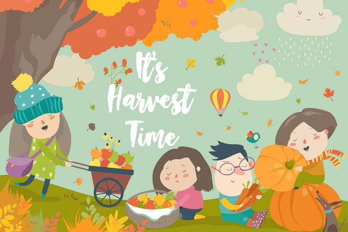 Thumbnail for Happy children harvesting in autumn garden. Vector