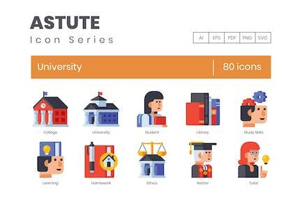 80 University Flat Icons