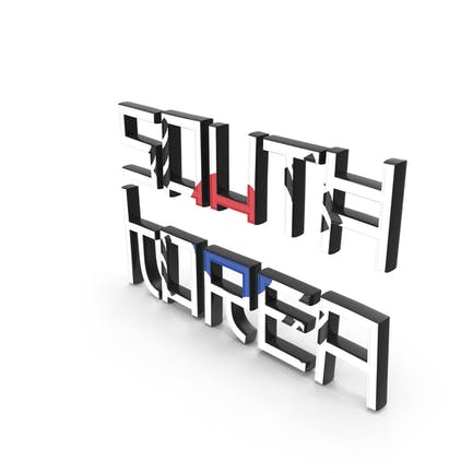 Südkorea-Text mit Flagge