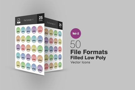 50 File Formats Filled Low Poly Icons