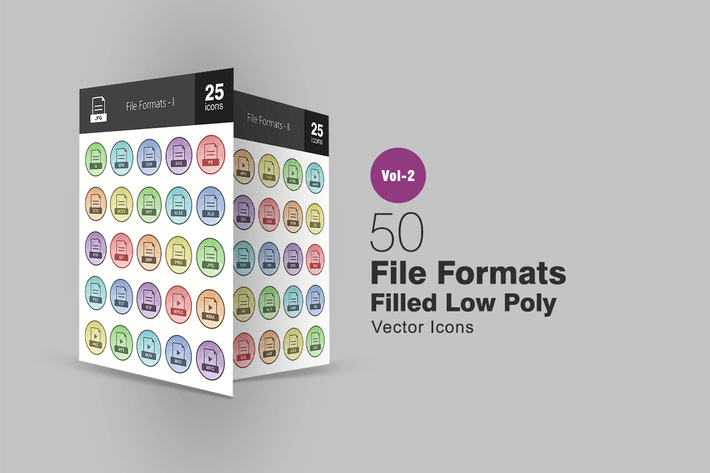 Cover Image For 50 File Formats Filled Low Poly Icons