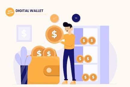 Digital Wallet Flat Vektor Illustration