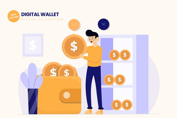 Thumbnail for Digital Wallet Flat Vector Illustration
