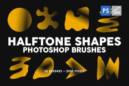 30 Halftone Shapes Photoshop Stamp Brushes