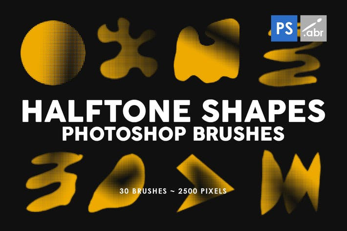 Cover Image For 30 Halftone Shapes Photoshop Stamp Brushes