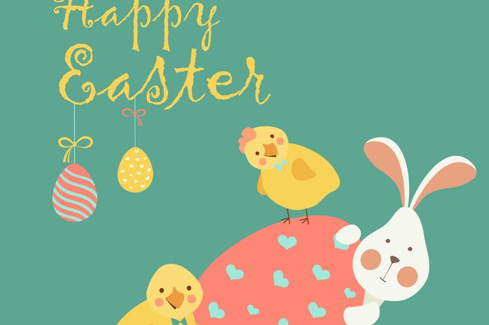 Thumbnail for Easter bunny,chicken and easter egg. Vector