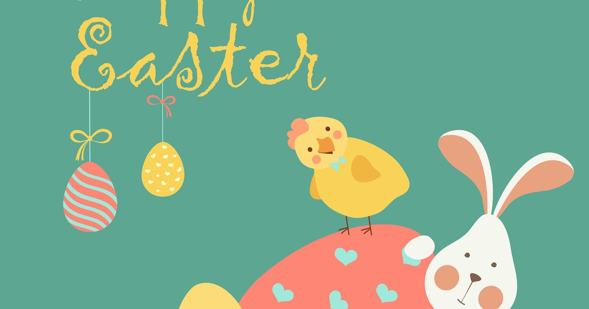 Download Easter bunny,chicken and easter egg. Vector by masastarus