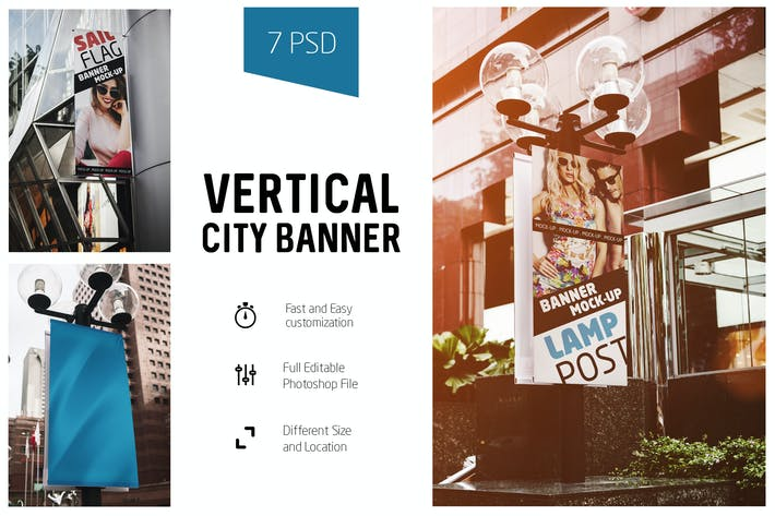 Thumbnail for Vertical City Banner Mock-Up