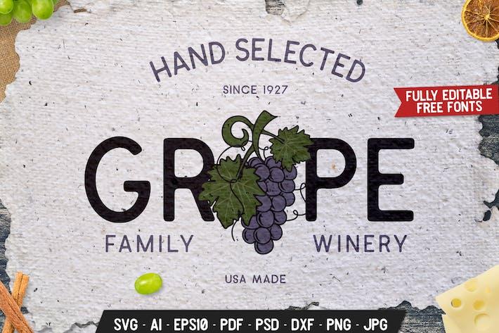Winery Vintage Logo Design Retro Wine Vector Badge