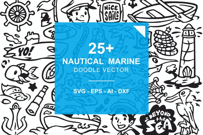 Thumbnail for Nautical Marine -  Ocean Beach Doodles