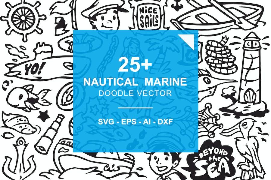 Nautical Marine -  Ocean Beach Doodles
