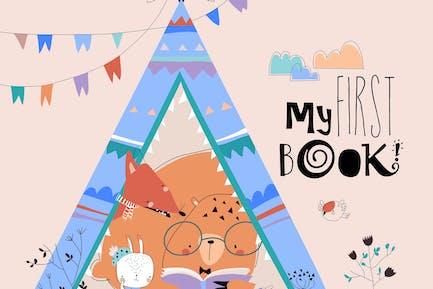 Cartoon funny animals reading book in a teepee ten