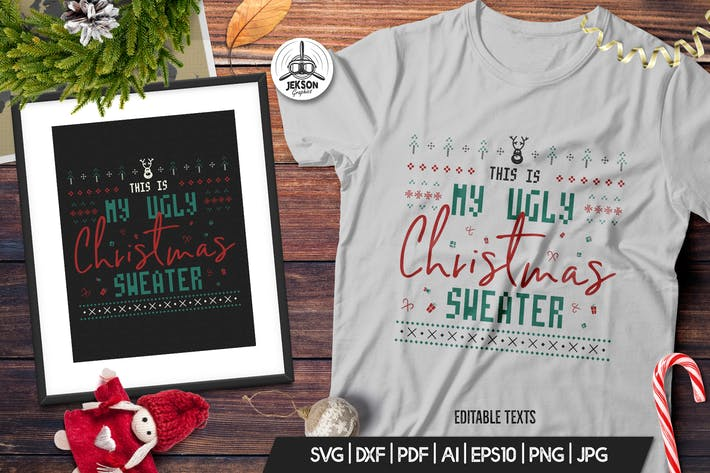 Thumbnail for Retro Ugly Christmas Print TShirt Design with Deer