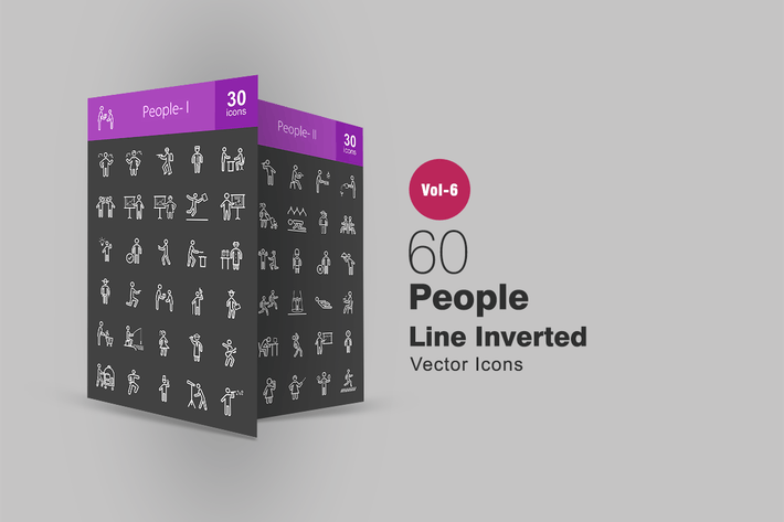 Thumbnail for 60 People Line Inverted Icons