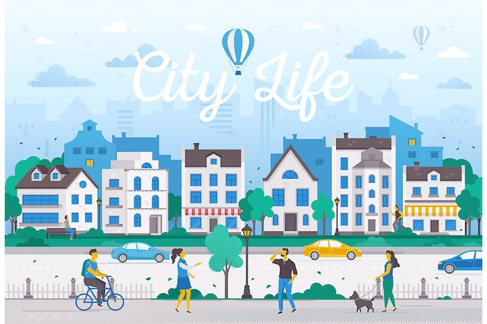 Thumbnail for City life - flat design style vector illustration