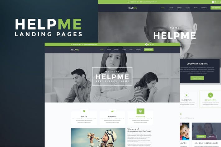 Thumbnail for HelpMe - Nonprofit Landing Page Template