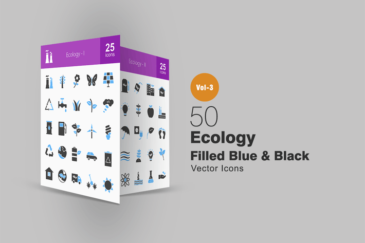 Thumbnail for 50 Ecology Blue & Black Icons
