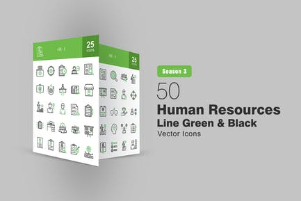 50 HR Line Green & Black Icons