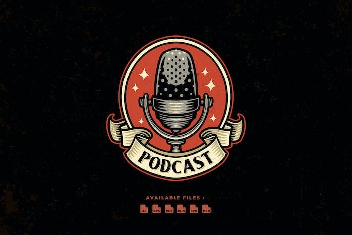 Podcast Vintage Logo