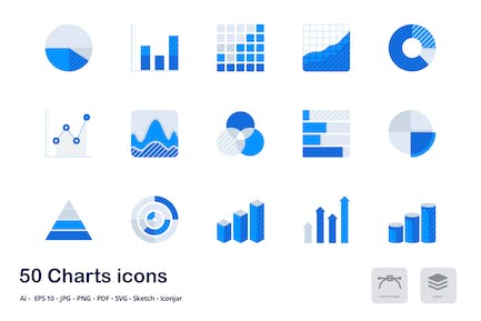 Charts and Statistics Accent Duo Tone Flat Icons