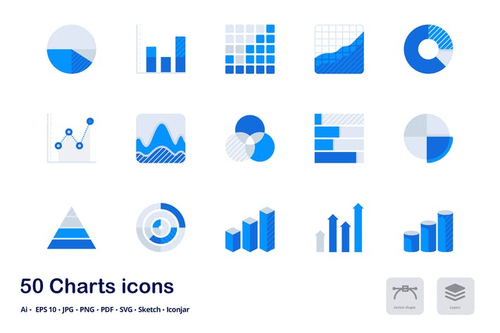 Thumbnail for Charts and Statistics Accent Duo Tone Flat Icons