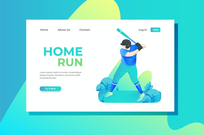 Baseball Landing Page Illustration