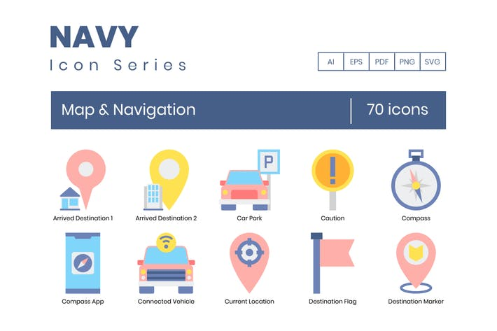 Thumbnail for 70 Map & Navigation Flat Icons