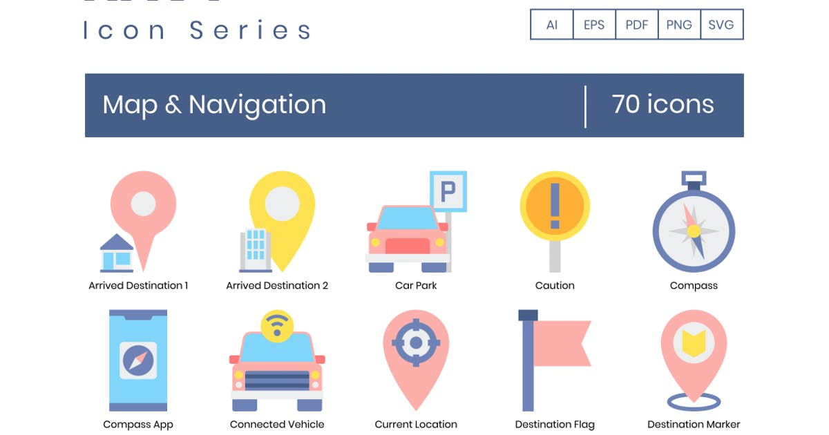 Download 70 Map & Navigation Flat Icons by Krafted