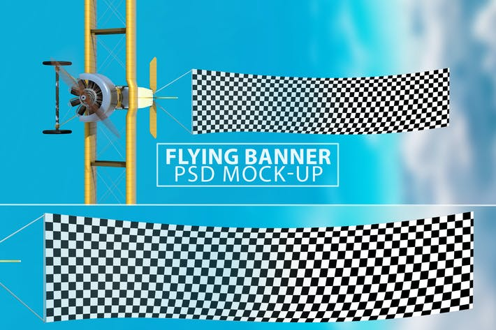 Thumbnail for Flying Banner PSD Mock-up
