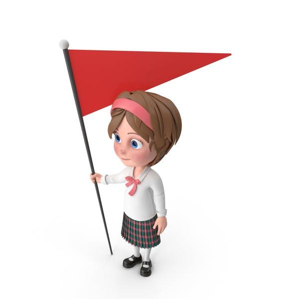 Cartoon Mädchen hält Flagge