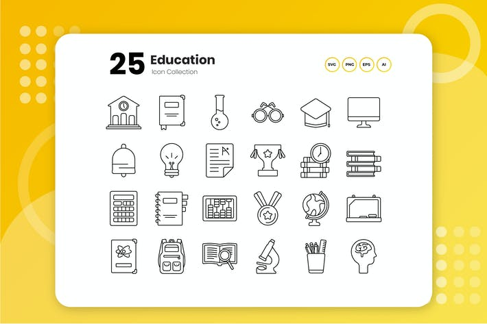 Thumbnail for 25 Education Outline Icon Set