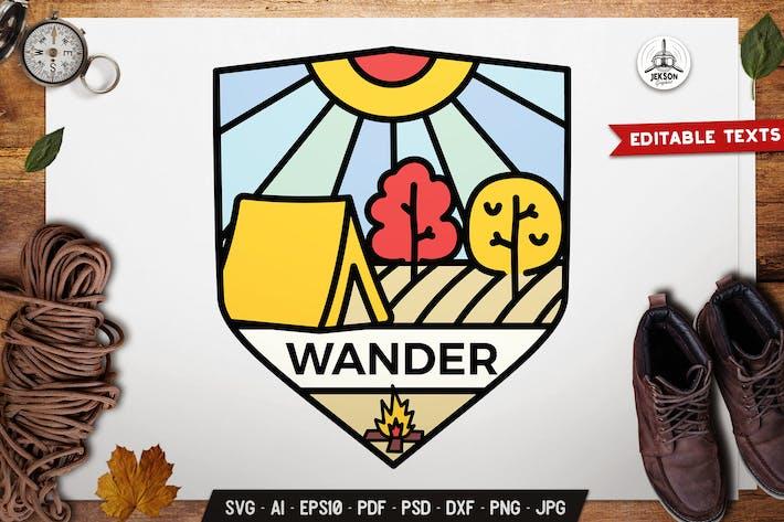 Thumbnail for Wander Badge. Line Art Emblem Graphics Modern Logo