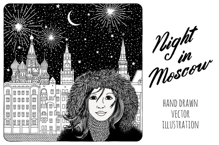 Thumbnail for Nacht in Moskau - Hand gezeichnet Vektor Illustration