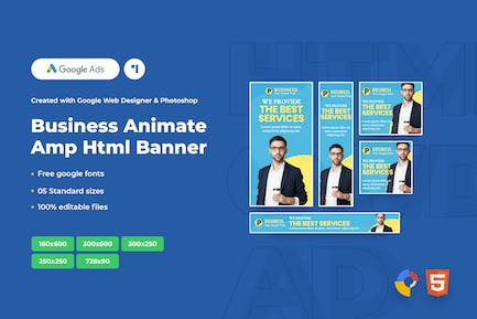 Business Animate Ads Template AMPHTML Banners V04